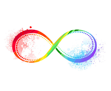 Illustration for Infinity symbol painted bright rainbow paint on the white background. - Royalty Free Image