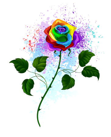 Illustration for rainbow rose with a curved green stem and green leaves on a white background, shaded bright splashes of paint. - Royalty Free Image