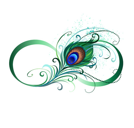 Ilustración de The symbol of infinity with a bright, green, artistic peacock feather on a white background. Tattoo style. - Imagen libre de derechos