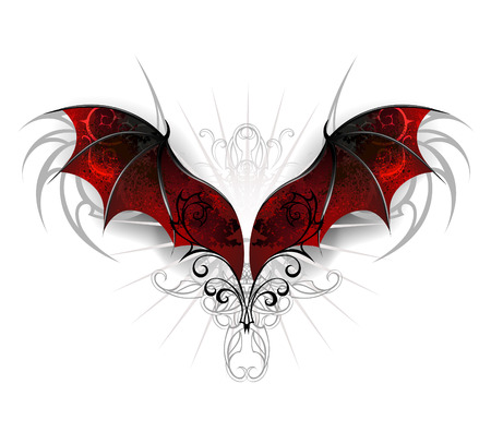 Illustration for Red, textured dragon wings on a white background. Gothick style - Royalty Free Image