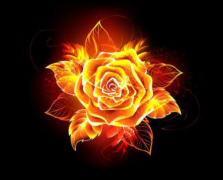 Ilustración de Blooming rose from fire and flame on black background.  - Imagen libre de derechos
