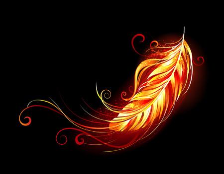 Ilustración de Bright feather made of fire and flame on black background.  - Imagen libre de derechos