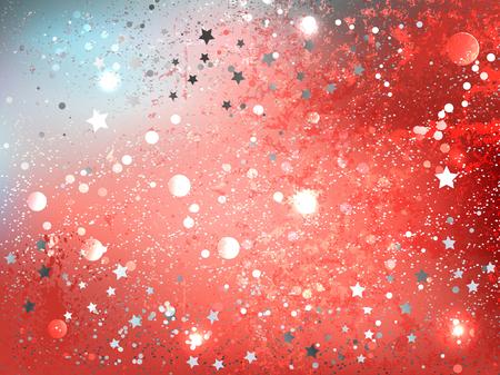 Ilustración de Textural, abstract background of color Live Coral with gray stars. Year 2019. - Imagen libre de derechos