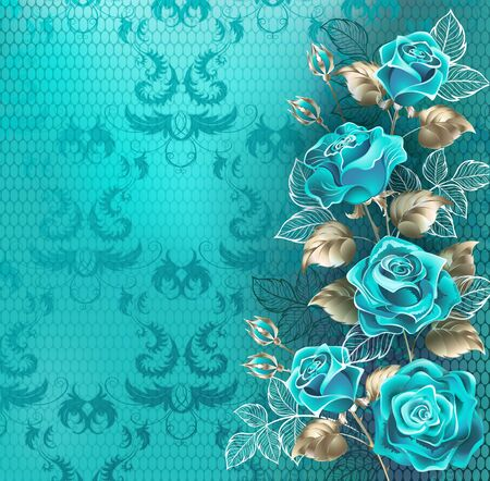 Ilustración de Composition of turquoise roses with leaves of white gold and contour white leaves on turquoise, lace background. - Imagen libre de derechos
