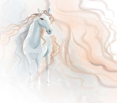 Illustration pour Horse watercolor painting - image libre de droit