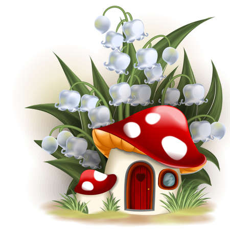 Illustration pour Lily of the valley and mushroom house - image libre de droit