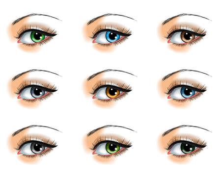 Illustration for Nine  different eye colors set - Royalty Free Image