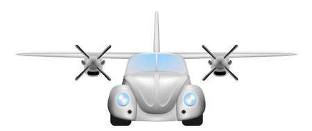 Illustration pour Retro flying car - image libre de droit