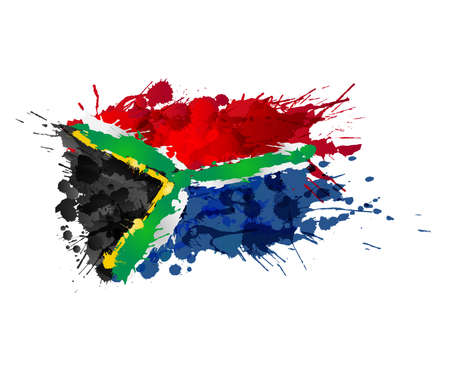 Illustration for South African flag made of colorful splashes - Royalty Free Image