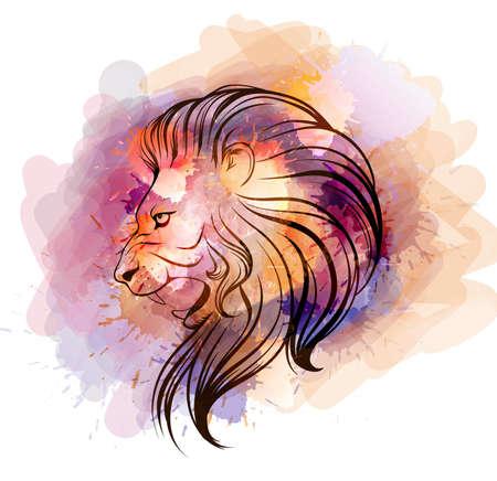 Illustration pour Watercolor lion head - image libre de droit