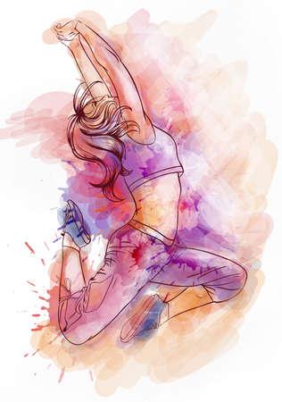 Illustration pour Bright watercolor dancer - image libre de droit