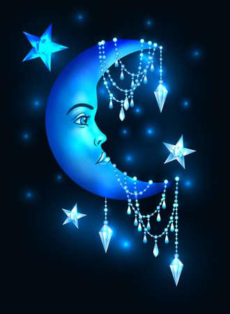 Ilustración de Halfmoon with human face and stars - Imagen libre de derechos