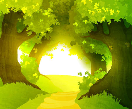 Illustration for Magic sunset in forest - Royalty Free Image