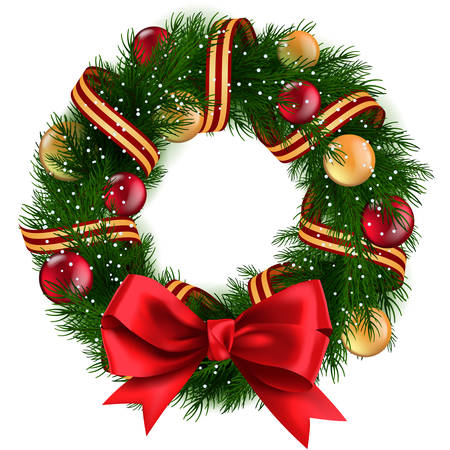 Ilustración de Christmas Wreath with ribbons, balls and bow isolated - Imagen libre de derechos