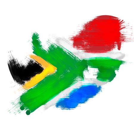 Illustration for Grunge map of South Africa with South African flag - Royalty Free Image