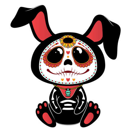 Illustration pour Day of the Dead (Dia de los Muertos) style bunny - image libre de droit