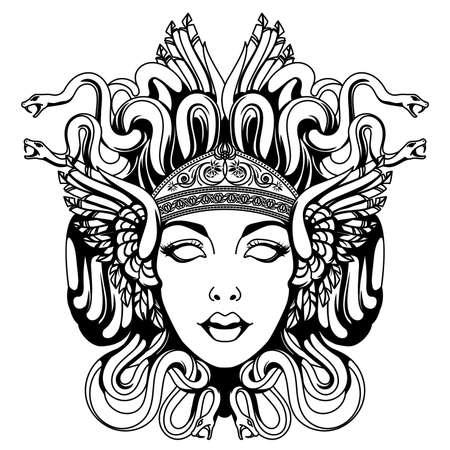 Illustration for Medusa gorgon portrait - Royalty Free Image