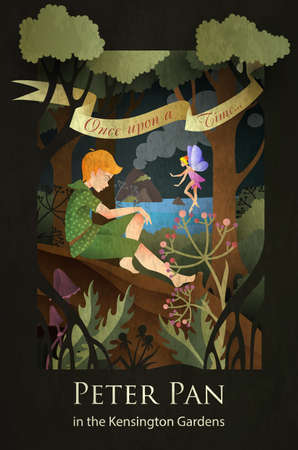 Illustration for Peter Pan and Tinker Bell fairytale illustration - Royalty Free Image