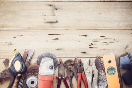Photo for old equipment tools group set on grain wood - Royalty Free Image