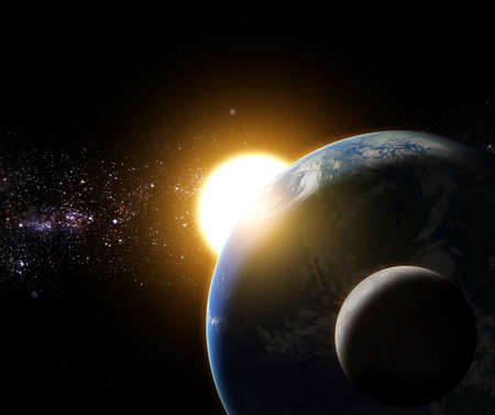 Foto de sunrise to the earth and moon in galaxy space element finished by nasa - Imagen libre de derechos