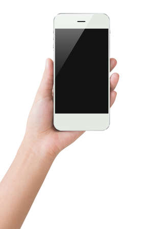 Photo pour hand hold phone display clipping path inside - image libre de droit