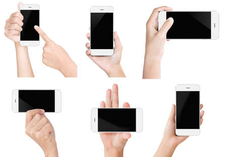 Foto de hand hold white modern smart phone show screen display isolated set - Imagen libre de derechos