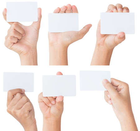 Photo for hand hold blank white card isolated with clipping path - Royalty Free Image