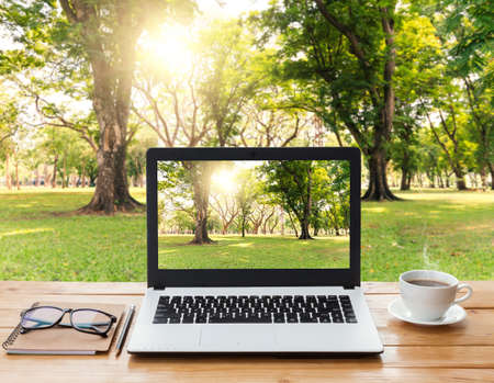 Foto de laptop computer and coffee on wood workspace and park background - Imagen libre de derechos