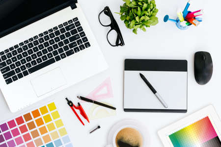 Photo for professional creative graphic designer desk - Royalty Free Image
