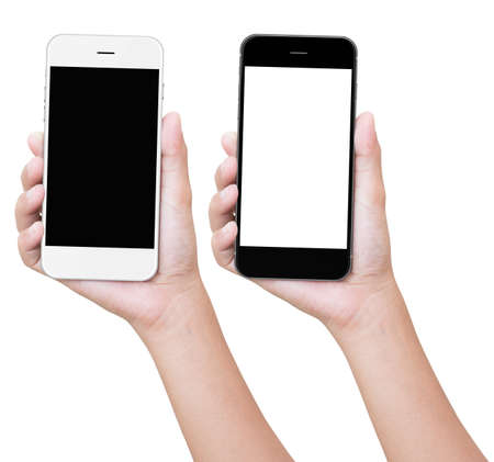 Photo for hand holding phone isolated with clipping path - Royalty Free Image