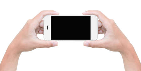 Photo for hand hold phone isolated on white with clipping path inside - Royalty Free Image