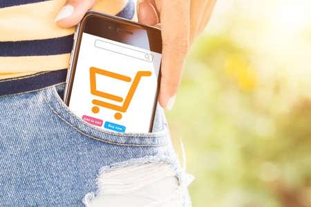 Foto de phone in bag easily lifestyle concept - Imagen libre de derechos