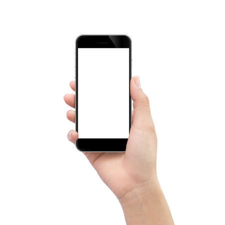 Foto de hand holding black phone isolated on white clipping path inside - Imagen libre de derechos