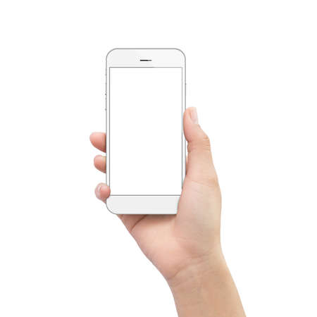 Photo pour hand holding phone isolated on white clipping path inside - image libre de droit