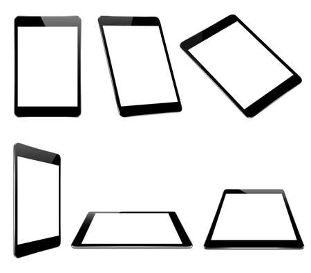 Ilustración de mock up black tablet isolated on white vector design - Imagen libre de derechos