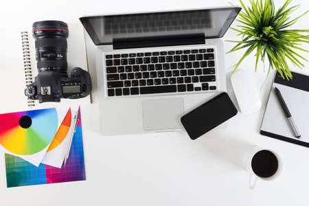 Foto de photography work space on top view - Imagen libre de derechos