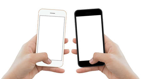 Photo pour closeup hand hold phone isolated on white background, mock-up phone matte black and gold color white screen - image libre de droit