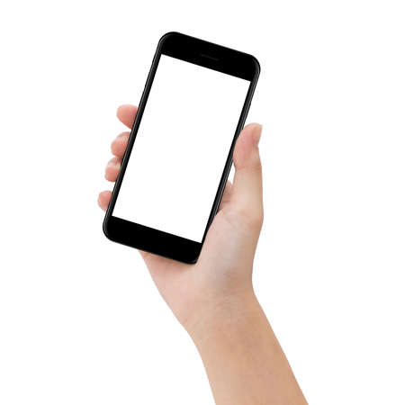 Photo for close-up hand hold phone isolated on white, mock up smartphone blank screen easy adjustment with clipping path - Royalty Free Image