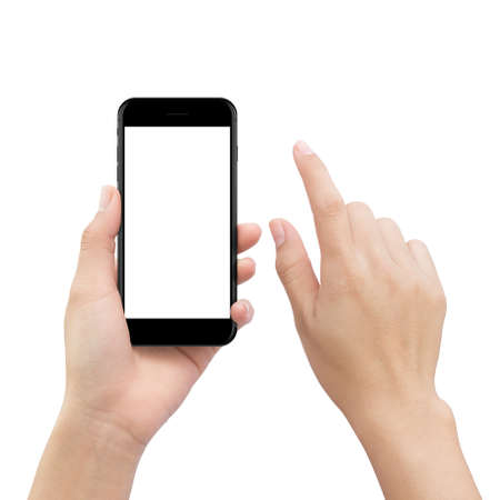 Foto de close-up hand touching smartphone screen isolated on white, mock up phone mobile blank screen easy adjustment with clipping path - Imagen libre de derechos
