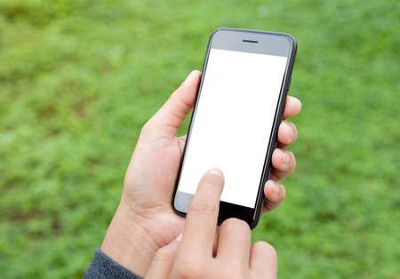 Foto de close-up hand touch on phone mobile screen outdoor lifestyle concept - Imagen libre de derechos