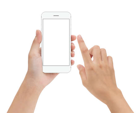 Photo pour hand touching phone mobile screen isolated on white, mock up smartphone blank screen easy adjustment with clipping path - image libre de droit