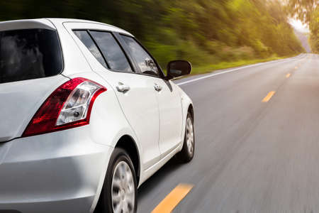 Foto de movement car speed on the road rural view background - Imagen libre de derechos