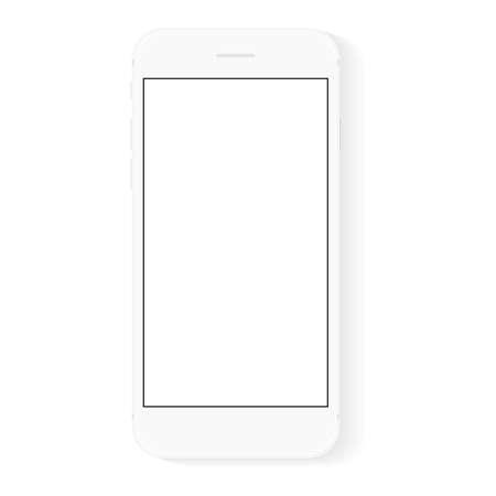 Illustration pour white flat phone white screen, vector drawing modern smart phone design - image libre de droit