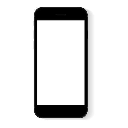 Ilustración de flat phone white screen, vector drawing modern smart phone design - Imagen libre de derechos