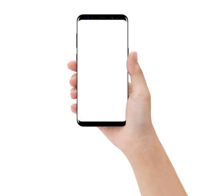 Foto de close-up hand touching phone mobile isolated on white, mock-up smartphone blank screen easy adjustment with clipping path - Imagen libre de derechos