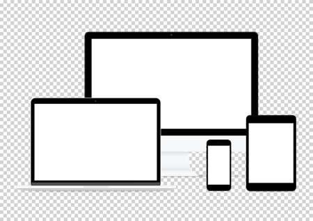 Ilustración de modern computer electronic flat design vector drawing set on transparent background - Imagen libre de derechos