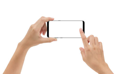 Foto de Hand holding smartphone mobile and touching screen isolated on white background, cliping path inside - Imagen libre de derechos