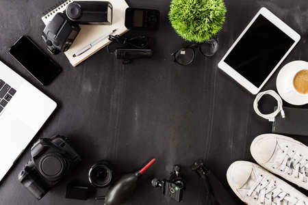 Photo for photography device on table top view - Royalty Free Image