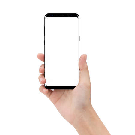 Photo for mock up phone in holding hand isolated on white background clipping path inside - Royalty Free Image