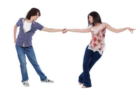 Foto de Social dance West Coast Swing. Demonstration of a stretch pose. - Imagen libre de derechos
